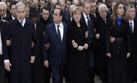 """""""إسرائيل"""" الدولة الإرهابية شاركت في مسيرة باريس للتنديد بالإرهاب…"""