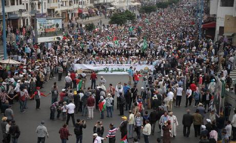 """الشعب المغربي يخرج بكثافة في مسيرة  شعبية حاشدة لمساندة  """"انتفاضة الأقصى"""""""