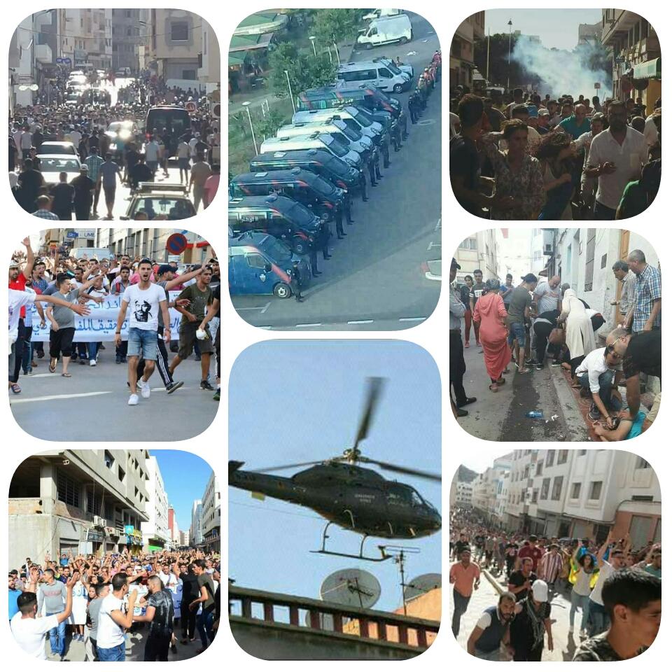 انطلاق مسيرة 20 يوليوز والقوات العمومية تستعمل القنابل المسيلة للدموع لتفريق المتظاهرين بشوارع الحسيمة