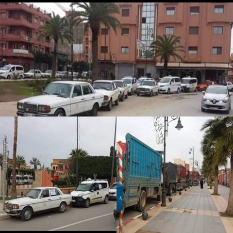 """مهنيو """"الطاكسيات"""" وشاحنات نقل الرمال والبضائع يدخلون في اضراب عام ويشلون حركة النقل بمدينة بركان"""