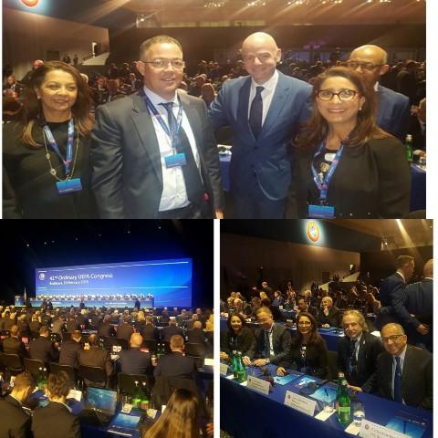 فوزي لقجع، رئيس الجامعة الملكية المغربية لكرة القدم، بمؤتمر الاتحاد الأوربي لكرة القدم للترويج لملف المغرب 2026