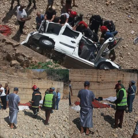 خبر عاجل…وفاة 8 أشخاص في حادث انقلاب سيارة بطريق لمريس و احفير إقليم بركان