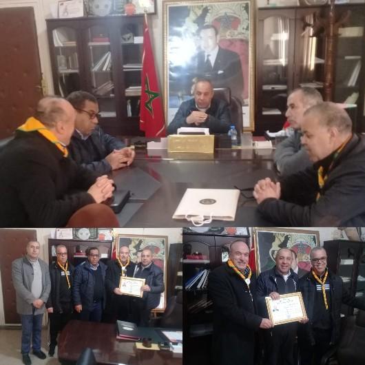 محمد ابراهيمي رئيس المجلس الجماعي لبركان يستقبل مكتب نادي الرواد الكشفي