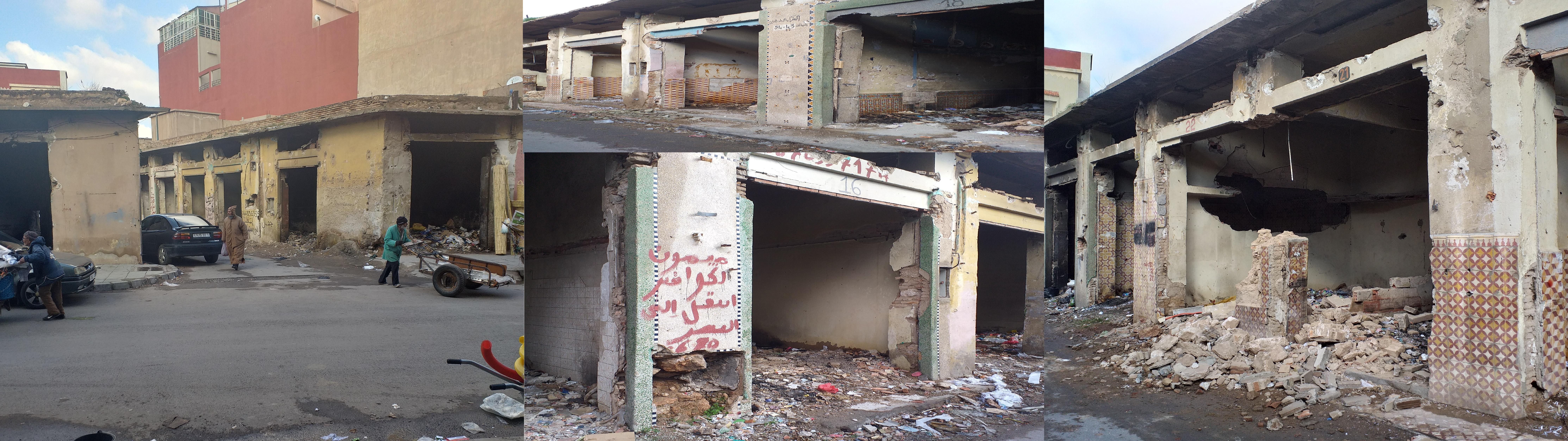 دكاكين وسط مدينة وجدة تتحول إلى مكان رعب وقلق ووكر للمنحرفين بعد هدمها من طرف السلطات