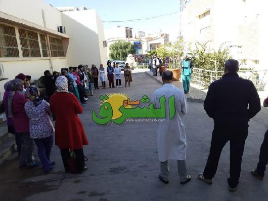 """شهيدة الواجب المهني """"رضوى لعلو"""" تخرج الشغيلة الصحية بإقليم تاوريرت للإحتجاج تضامنا مع زميلتهم"""