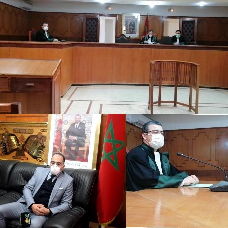 المحكمة الإبتدائية ببركان تعقد جلساتها الخاصة بالمعتقلين بتقنية إلكترونية بالصوت والصورة عن بعد