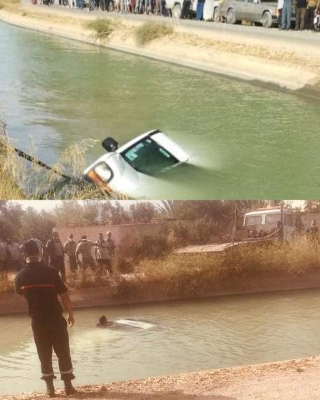 سقوط سيارة بقناة الري بجماعة بوغريبة تودي بحياة شخصين