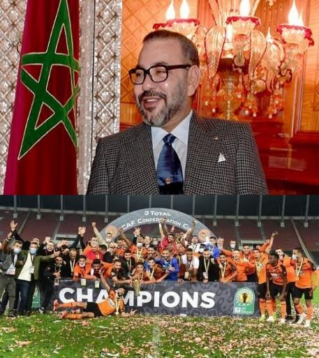 برقية تهنئة من الملك محمد السادس إلى أعضاء نادي النهضة البركانية لكرة القدم بعد تتويج الفريق بلقب كأس الكونفدرالية الافريقية