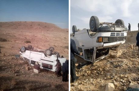 إصابة سبعة أشخاص إثر إنقلاب سيارة مرسيدس 207 كان على متنها 13 شخصا