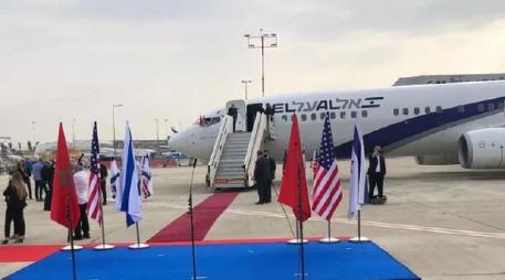 تل أبيب..لحظة إقلاع طائرة الوفد الأمريكي-الإسرائيلي من مطار بن غوروين، في اتجاه المغرب