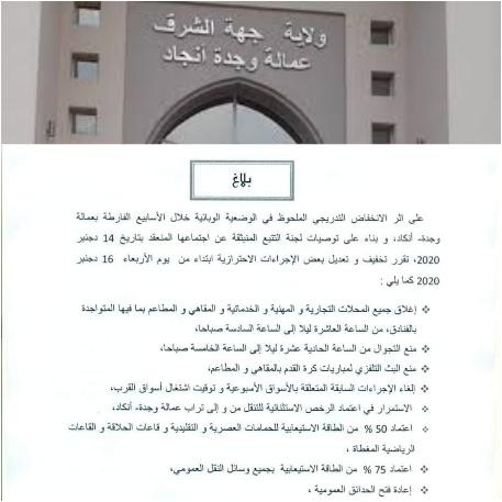 سلطات وجدة تخفيف التدابير والإجراءات الإحترازية ابتداء من يوم الأربعاء 2020/12/16