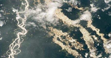 صورة جديدة التقطتها محطة الفضاء الدولية تكشف أنهارا من الذهب في الأمازون