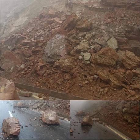انزلاقات صخرية توقف حركة السير بالطريق الجديدة بتافوغالت إقليم بركان