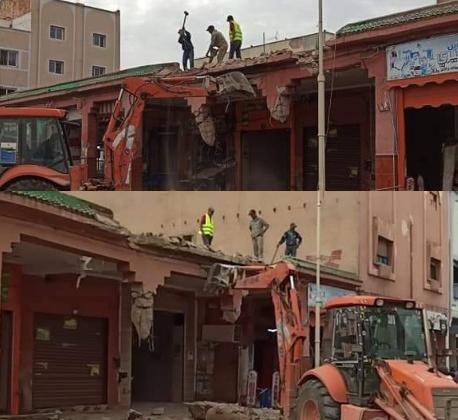 سقوط موظف خلال عملية هدم محلات تجارية بشارع محمد الخامس ببركان