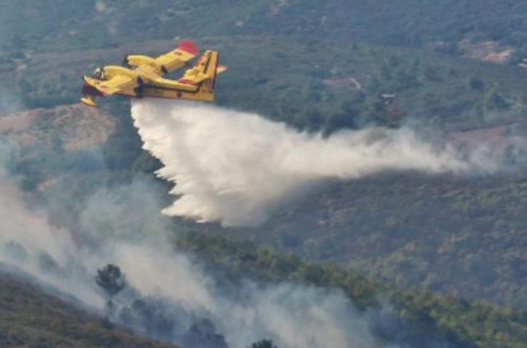 """جهود متواصلة لإخماد حريق أتى، على غابة """"سكنا"""" (إقليم شفشاون)."""